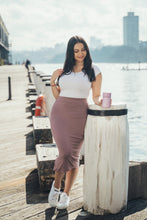 Load image into Gallery viewer, Nina Side Split Bamboo Woodrose Skirt - Bamboo Body
