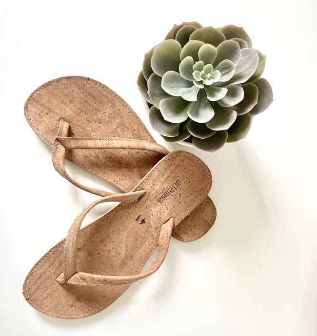 Cork Flip Flops - Vegan Thongs - Fairtrade  Sandals by Artelusa Portugal