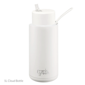 frank green Ceramic Reusable Bottle 1L - Straw Lid - Cloud / White - Papaya Lane