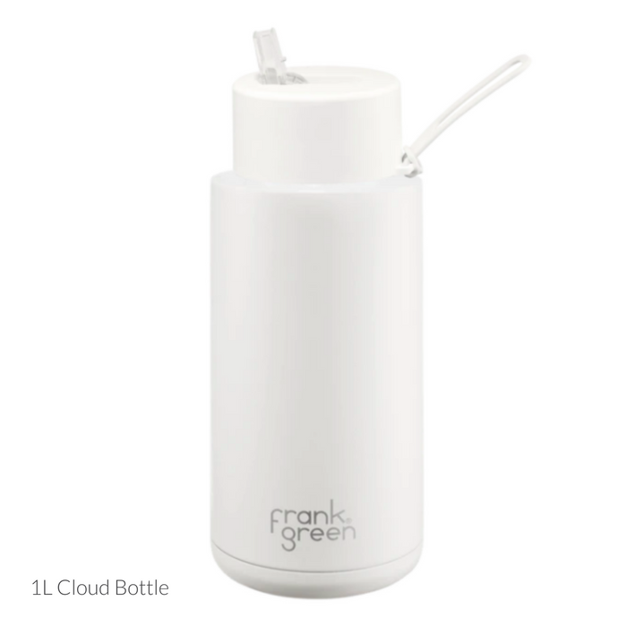frank green Ceramic Reusable Bottle 1L - Straw Lid - Cloud / White