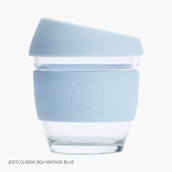 Joco Reusable Glass Cup Vintage Blue 236ml Small 8oz