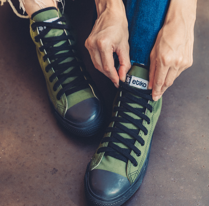 Vegan High Top Green Olive Sneakers Organic Fairtrade - Papaya Lane