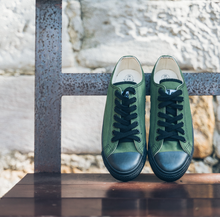 Load image into Gallery viewer, Vegan Low Top Olive Sneakers Organic Fairtrade