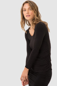 Ruched Bamboo Long Sleeve  Black Top - Bamboo Body