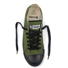 Load image into Gallery viewer, Vegan Etiko Olive Low Cut Sneakers Fairtrade Top ViewShot