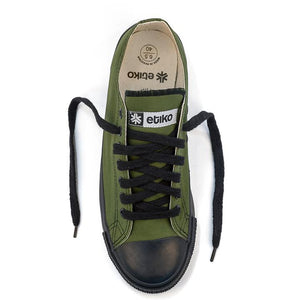 Vegan Etiko Olive Low Cut Sneakers Fairtrade Top ViewShot