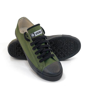 Vegan Etiko Olive Low Cut Sneakers Fairtrade Stacked Shot
