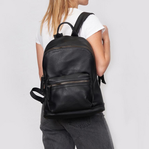 The Times Vegan Leather Black Backpack - Urban Originals