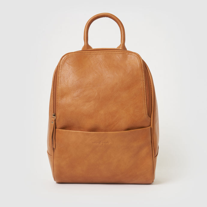 Ziggi Vegan Leather Backpack  - Tan Leather Colour backpack - Urban Originals