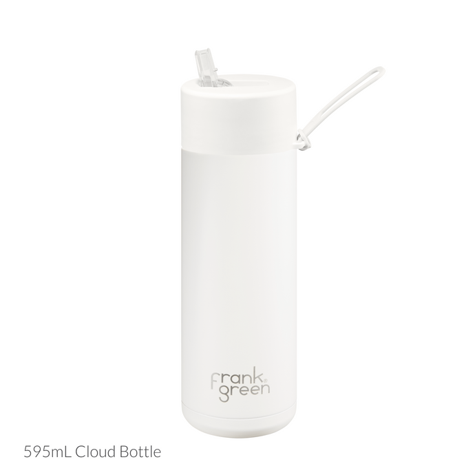 frank green Ceramic Reusable Bottle 595mL - Straw Lid - Cloud / White