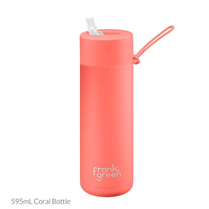 frank green Ceramic Reusable Bottle 595mL - Straw Lid - Coral