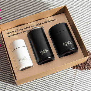 frank green Coffee Gift Box - Black with Cloud White Reusable Ceramic Cup - Papaya Lane