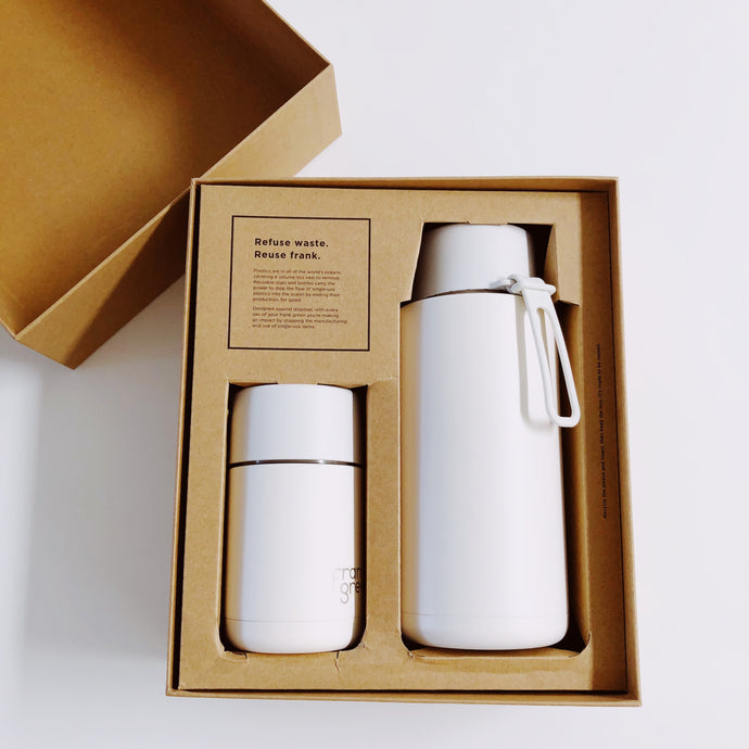 frank green My Eco Cloud / White Gift Set: 1L Reusable Bottle + 295mL Reusable Cup