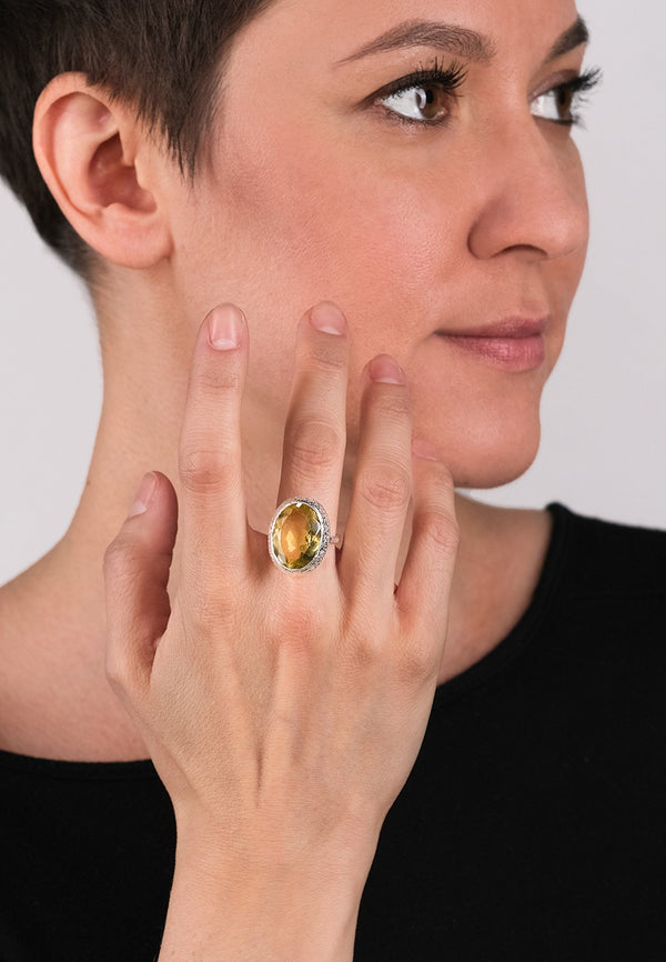 Citrine Oval Silver Ring - Adelina1001