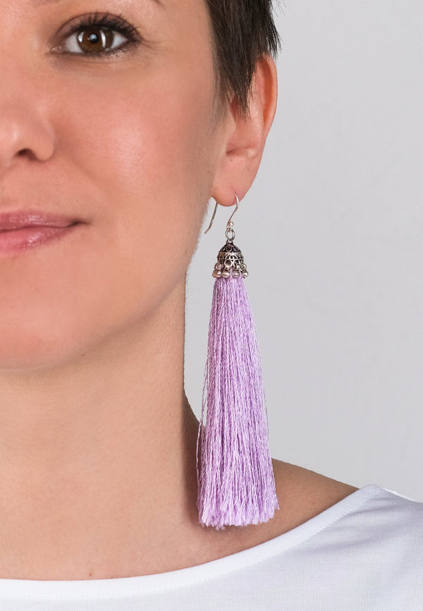 Lavender Tassels Earrings - adelina.world