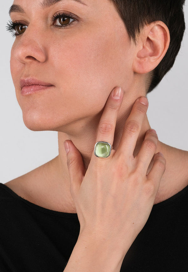 Lime Grove Square Silver Ring - Adelina1001