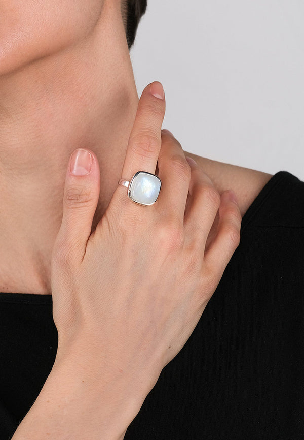 Moon Stone Square Silver Ring - Adelina1001