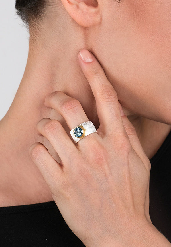 Blue Topaz Double Ring - Adelina1001, Raw stone, December Birthstone, Healing Ring, tourmaline,