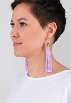 Lavender Tassels Earrings - Adelina1001