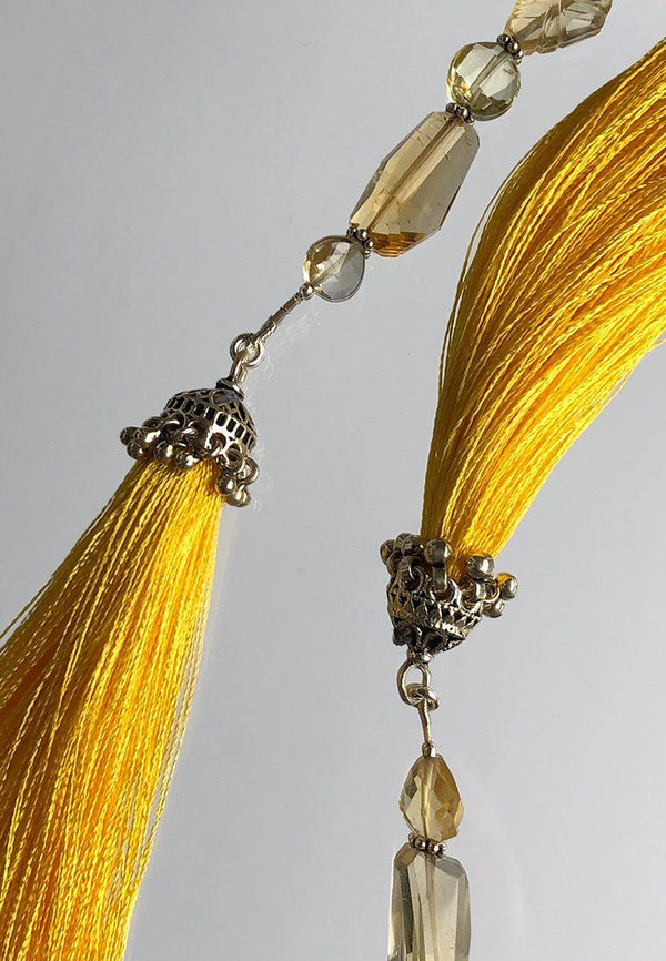 Yellow Tassel - Adelina1001, Authentic stones, silver, silk, handmade high quality accessories.