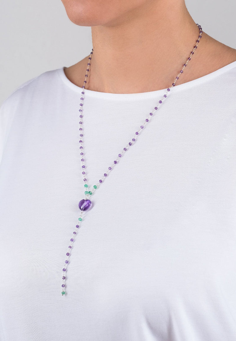 Lavender Heart Chain - Adelina1001, серебро,  цепь, натуральные камни, silver, natural stones, chain