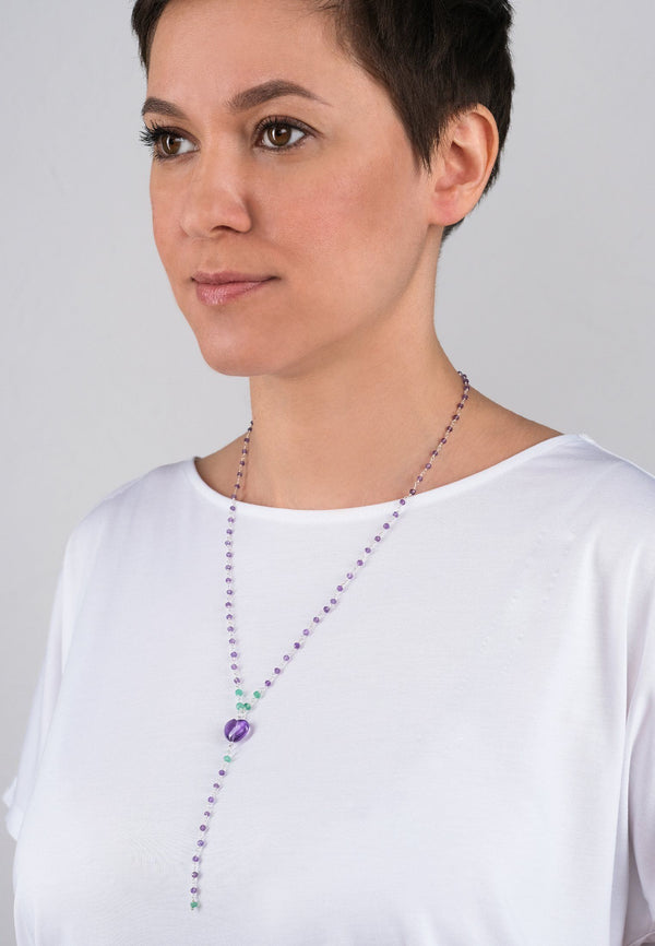 Lavender Heart Chain - adelina.world