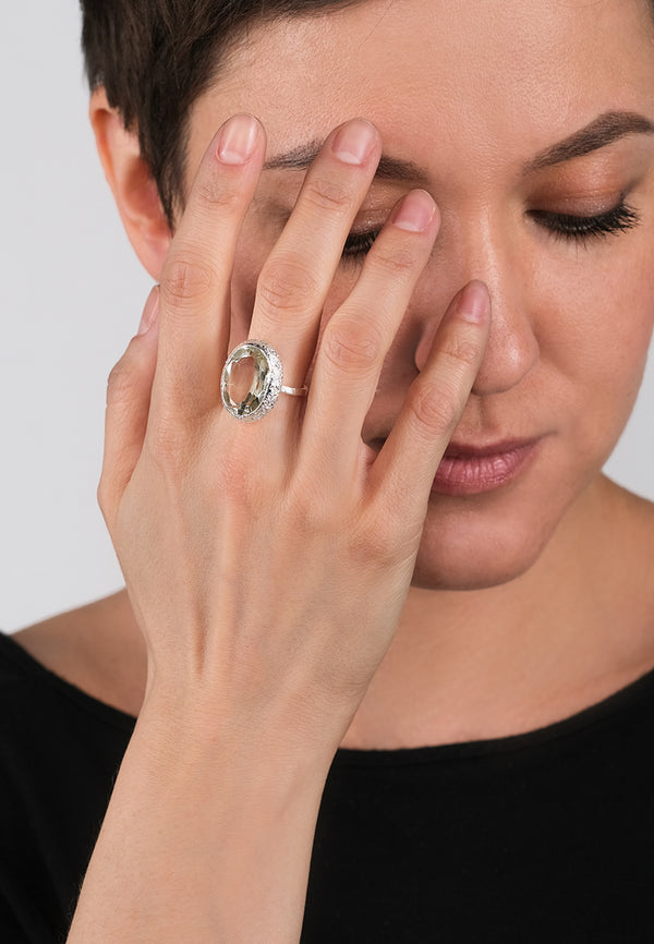 Green Amethyst Oval Silver Ring - Adelina1001