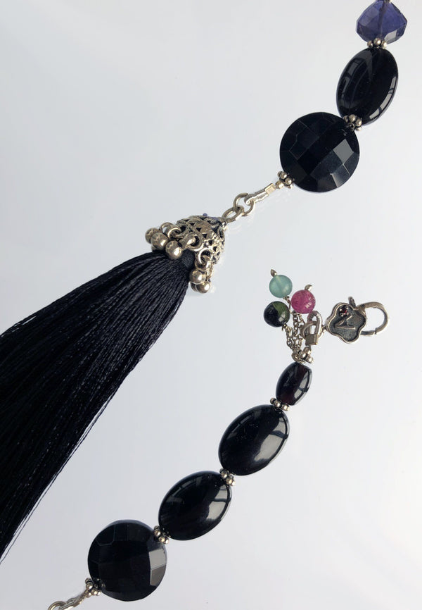 Black Tassel - Adelina1001, silver, jewelry, semiprecious stones, silk, шелк,  украшения ,   fashion, gemstone, vintage,  artist,  cute, beautiful, aesthetic , sexyjewelry, playfulness