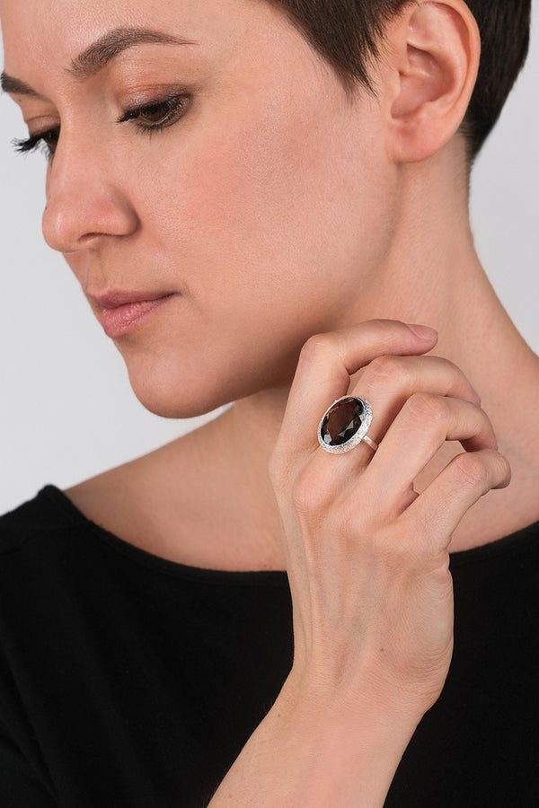Smoky Quartz Oval Silver Ring - Adelina1001