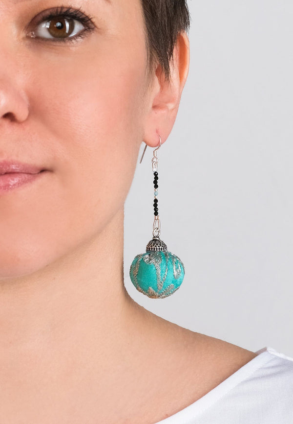 Earrings Pompons 4 - Adelina1001, Antique sarees fabrics, Rose Quartz, Apatite, silver, silk