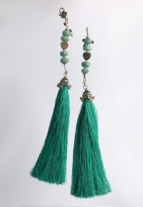Emerald Tassel - Adelina1001. Handmade, silk, genuine stones, silver  A game of textures and highlights of natural stones.