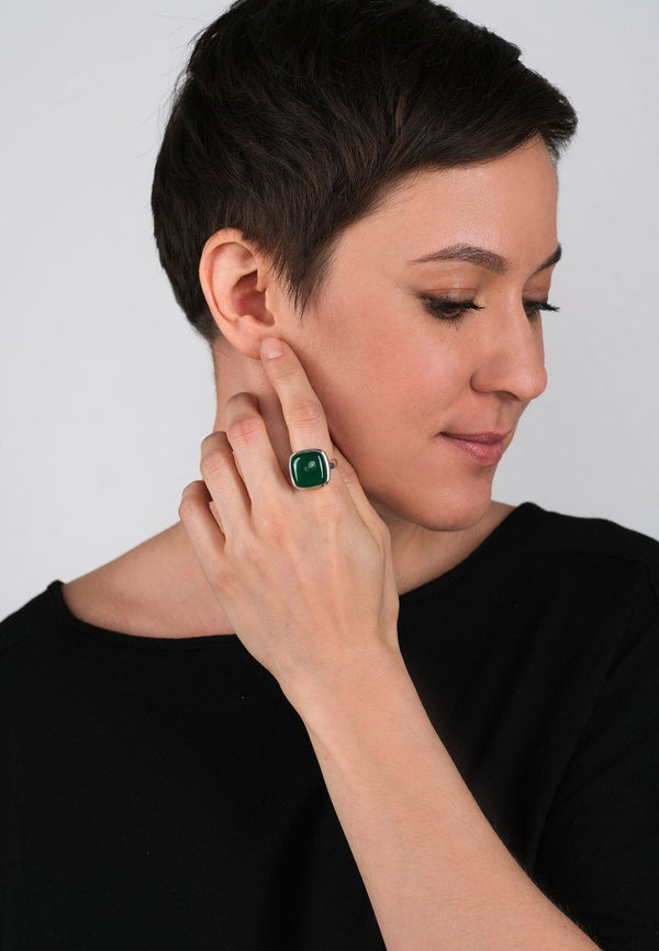 Emerald Square Silver Ring - Adelina1001