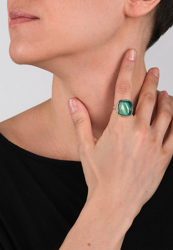 Green Square Silver Ring - adelina.world