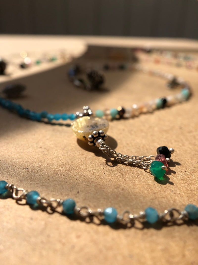 Summer breeze - Adelina1001, Amethyst, fluorite and shimmering aquamarine, turquoise and magic moonstone.