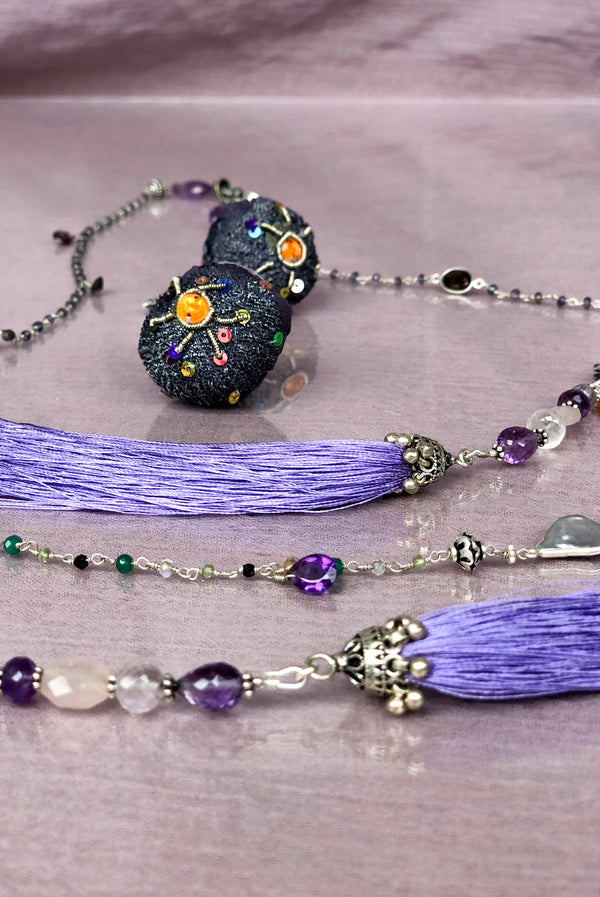 VIOLET MORNING - Adelina1001, Amethyst, fluorite and shimmering aquamarine, turquoise and magic moonstone