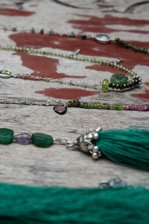 Green Haze - Adelina1001. Authentic stones, silver, silk, handmade high quality accessories