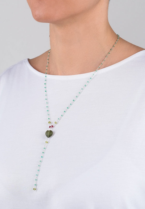 Green Heart Chain - Adelina1001, chain. jewelry, silver, semiprecious stone,  silver, chain, natural stones, серебро, камни, цепь