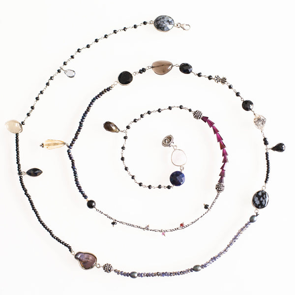 Blue Blizzard - Adelina1001, moonstone, amethyst, black quartz, sapphire, garnet, black pearl, onyx and the winter stone itself, snow obsidian.