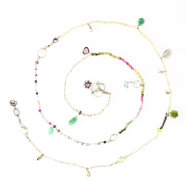 Green Haze - Adelina1001, natural semiprecious stones, silver, citrines, peridot, green onyx, spruce amethyst, tourmaline, apatite and a noble emerald.