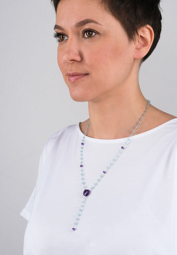Purple Heart Chain - Adelina1001, silver, chain, natural stones, jewelry, серебро, натуральные камни, украшения