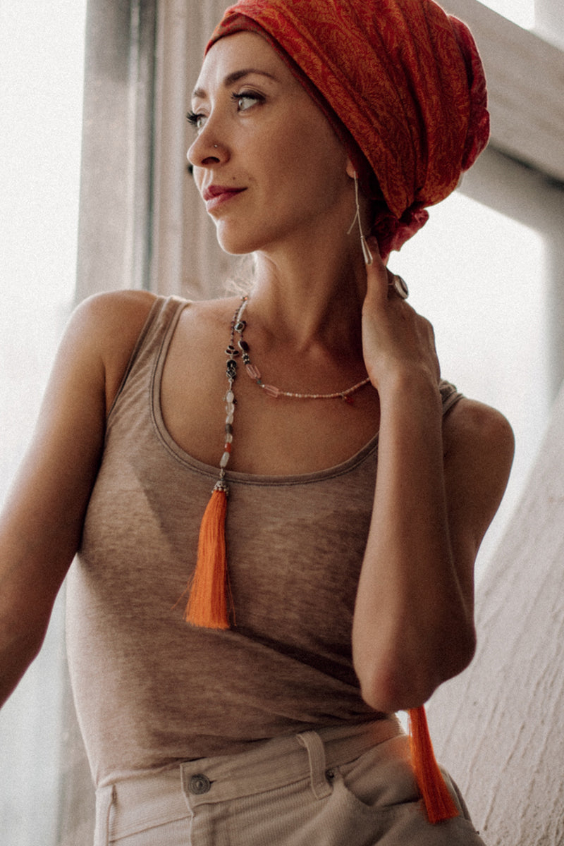 Tangerine sunset - Adelina1001, jewelry, silk, silver, moonstone, boho, natural stone