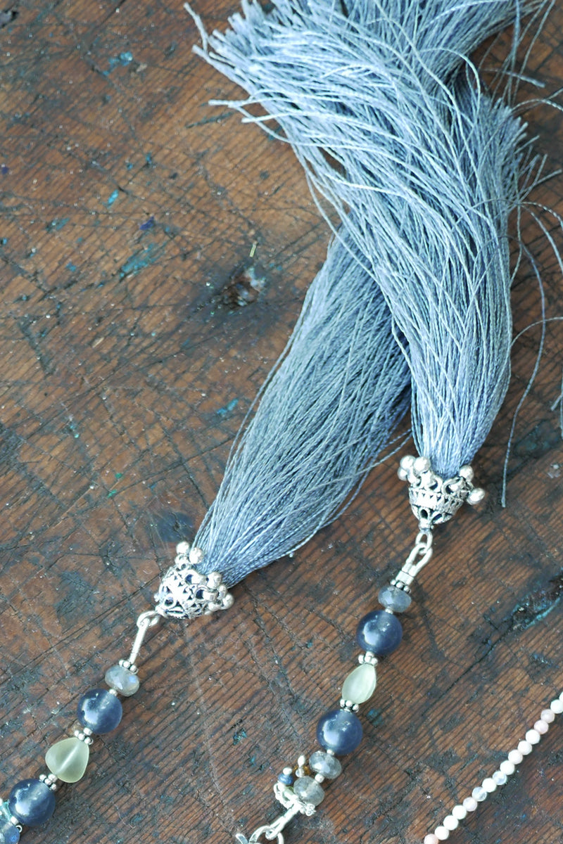 Glowing Gray - Adelina1001, Authentic stones, silver, silk, handmade high quality accessories