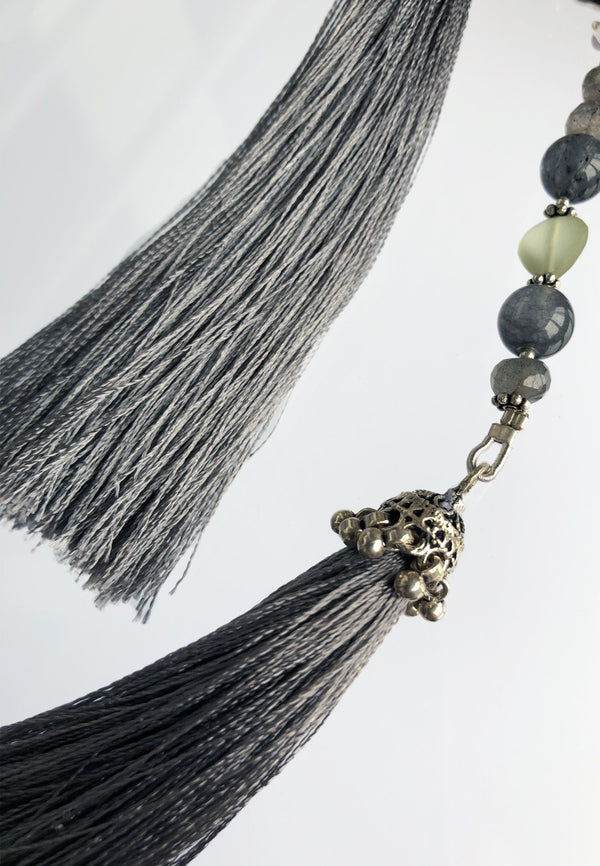 Grey Tassel - Adelina1001, fashion, jewelery, boudoir, Lolita,  kawaiifashion,  kawaii,  sweetfashion, pastel,  lolitafashion, japan vintage,  artist,  cute, beautiful, aesthetic , grey stones.  natural stones