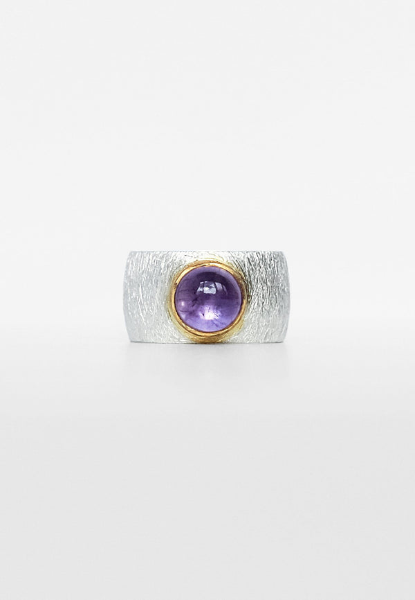Amethyst Double Ring - Adelina1001, tourmaline, silver ring, natural stones
