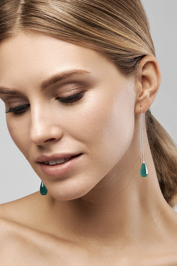 Green Onyx Glow Drops Long Earrings - adelina.world