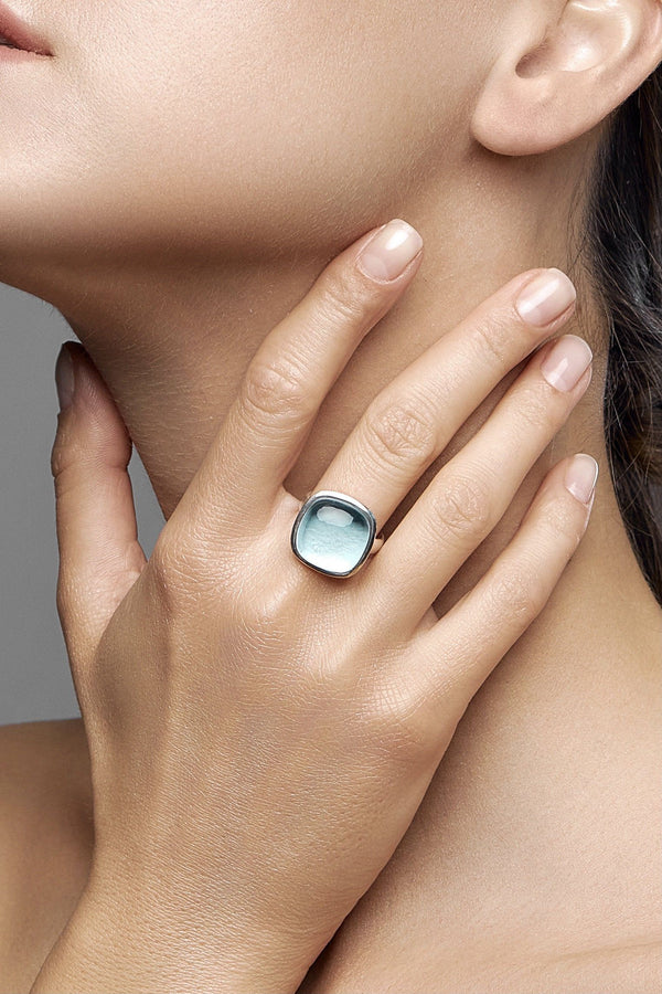 Green amethyst Silver Ring (Light Sky) - adelina.world
