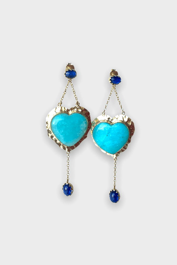 Blue Heart Boho Earrings - Adelina1001, Authentic stones, silver, 14K Gold Filled, handmade,  high quality, amazonite, blue sapphire