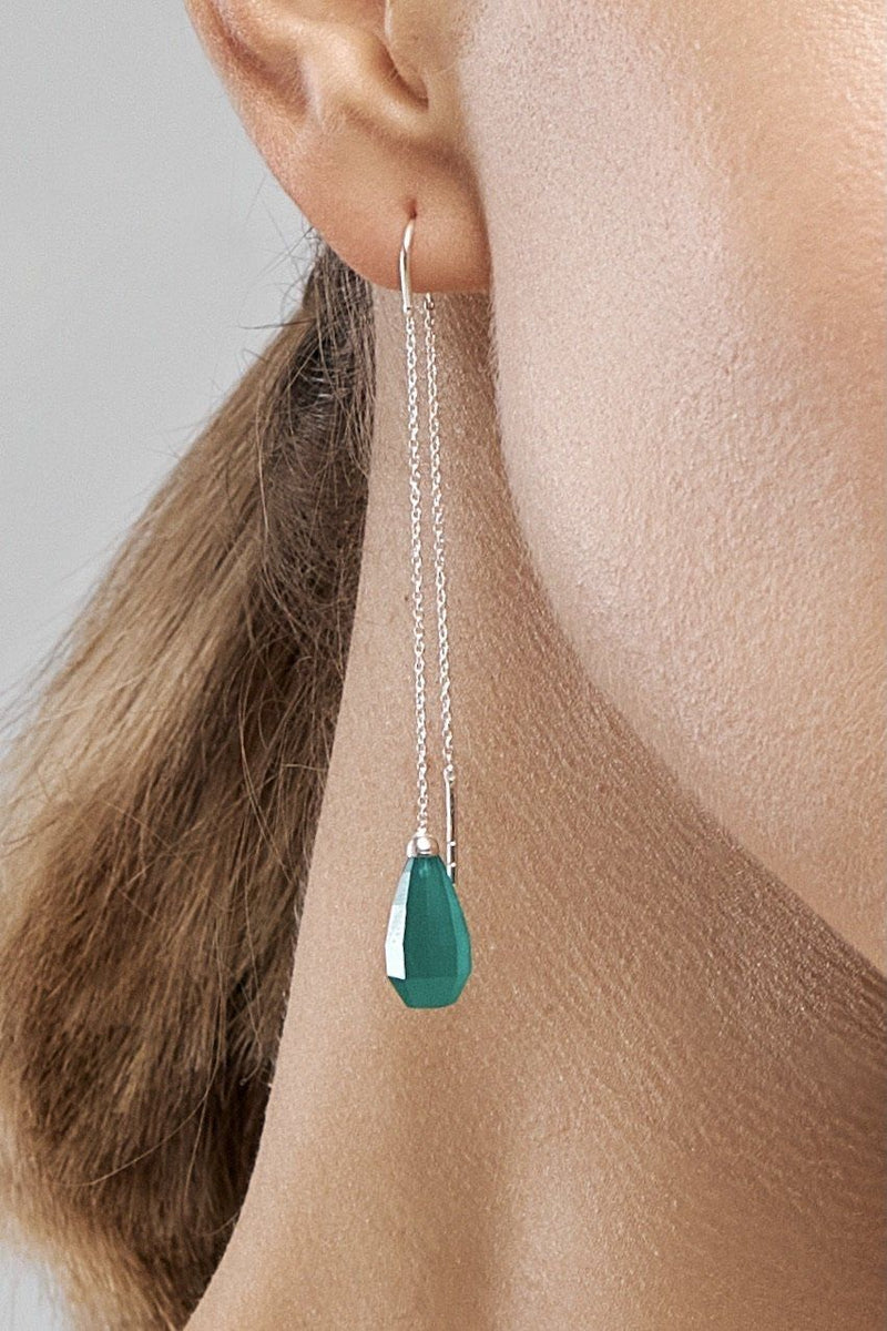 Green Onyx Drops Earring. Green Onyx Glow Drops Long Earrings - Adelina1001, зеленый оникс, капли серьги. украшения