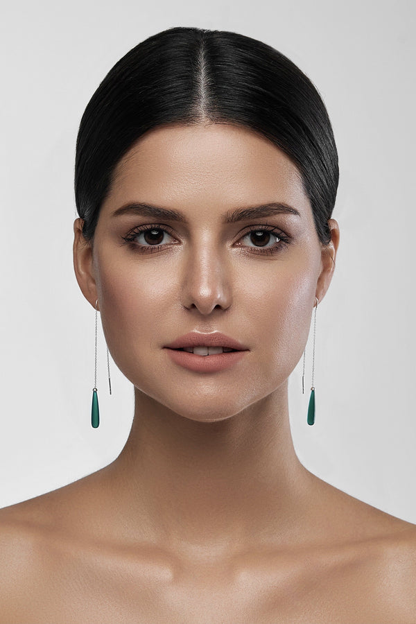 Green Onyx Drops Long Earrings - adelina.world