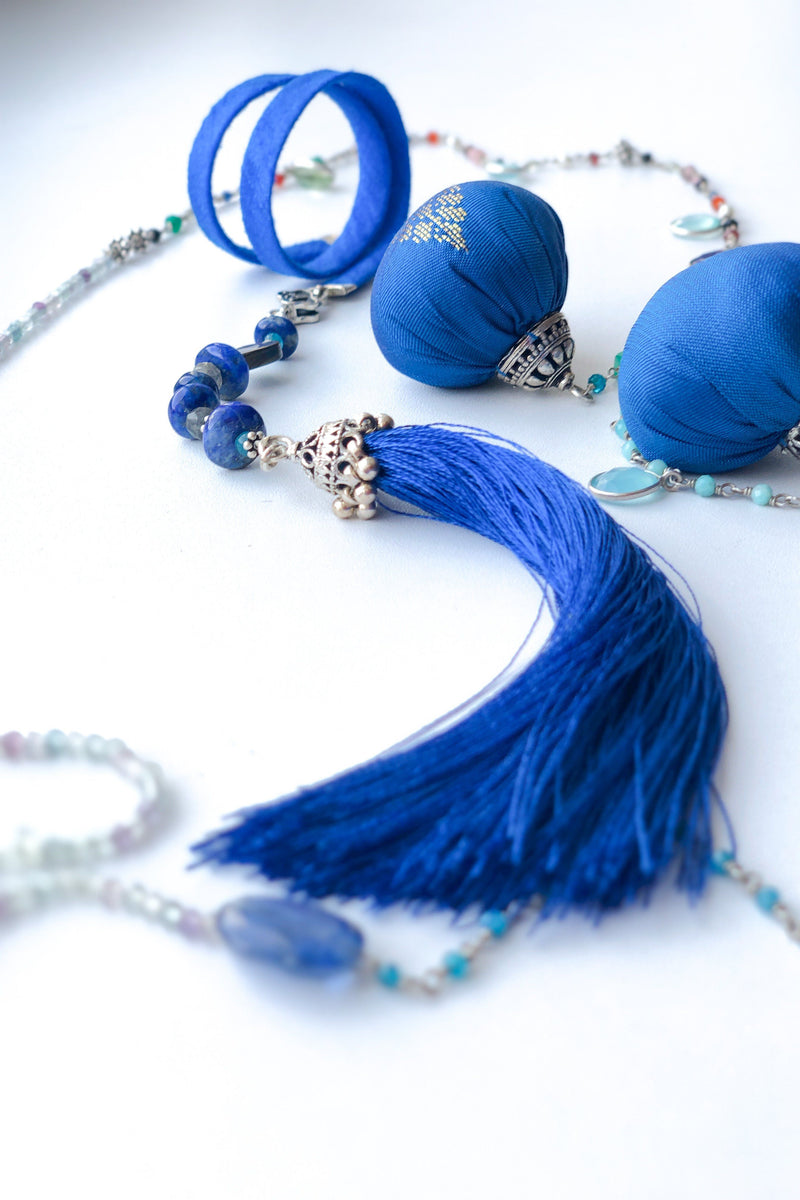 Royal Blue - Adelina1001, Authentic stones, silver, silk, handmade high quality accessories, tassels. smart jewelry,  silk, помпоны, кисточки